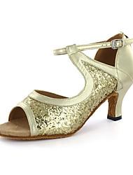 povoljno -Žene Latinski plesovi Umjetna koža Sandale Kopča Kockasta potpetica Srebrna Zlatna Moguće personalizirati