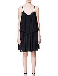 Недорогие -Женская Глубокий V-шейный ремешок украшения Двухместный Уровень Лоскутная платье