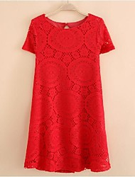 Dame sommer New Loose Short Sleeve Lace Dress