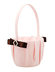 Flower Basket In Pink Satin With Brown Polyester Banding And Rhinestone Flower Girl Basket Coral Wedding