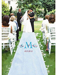 cheap -Personalized White Printing Cloth 2 Monogram Initial & Names Aisle Runner (More Monogram Colors)