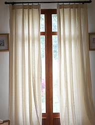 Two Panels Curtain Modern , Solid Living Room Linen / Cotton Blend Material Curtains Drapes Home Decoration For Window