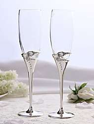 Elegant Silver Plated Toasting Flutes With Rhinestone Wedding Reception