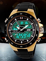cheap -SKMEI Men's Sport Watch / Wrist Watch / Digital Watch Alarm / Calendar / date / day / Chronograph Plastic Band Fashion Black / Water Resistant / Water Proof / Luminous / LCD / Dual Time Zones