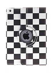 cheap -Kinston 360 Degree Rotatable Black And White Squares Pattern PU Leather Full Body Case with Stand for iPad Air