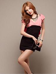 J & C mit V-Ausschnitt Frauen Lotusblatt Spitze Halter dünnes Paket-Hüfte Sexy kurzes Kleid