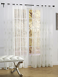 cheap -Sheer Curtains Shades Bedroom Polyester Embroidery