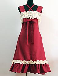 abordables -Lolita Classique/Traditionnelle Princesse Femme Robes Cosplay Rouge Sans Manches Moyen