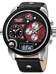 Men's Military Watch Quartz Japanese Quartz LCD Calendar Chronograph Water Resistant / Water Proof Three Time Zones Alarm Band Black Brand