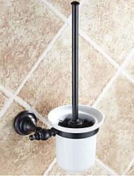Toilet Brush Holder / Oil Rubbed Bronze Brass Ceramic /Antique