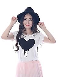 Mulheres Camiseta Casual Simples Verão,Estampado Branco Algodão Manga Curta Opaca
