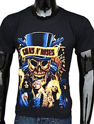 Tee-Shirt Pour des hommes A Motifs Décontracté / Sport Manches Courtes Coton Noir