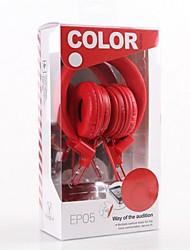 EP05 com microfone sobre-orelha auscultadores para computador móvel telefone e mp3 (cores sortidas)