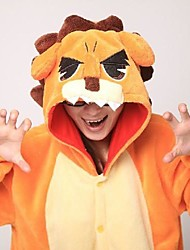 cheap -Kigurumi Pajamas Lion Onesie Pajamas Costume Coral fleece Orange Cosplay For Adults' Animal Sleepwear Cartoon Halloween Festival / Holiday