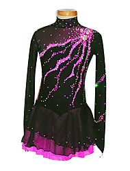 Women's Girls' Figure Skating Dress Ice Skating Dress Long Sleeves Performance Leisure Sports Skirt Spandex Skating Wear Ice Skating