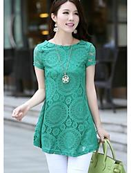 Kvinder Fashion Hollow Print Lace A-line Mini Dress