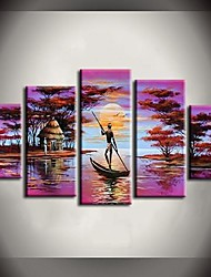 Hand-Painted Abstract / Landscape / Abstract Landscape / Animal Five Panels Canvas Oil Painting For Home Decoration