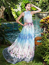 A-Line High Neck Floor Length Chiffon Prom Formal Evening Military Ball Dress with Pattern / Print Pleats by TS Couture®