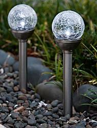 billige -Sæt med 2 farveskiftende Solar Crackle Glass Ball Stake Light Garden lampe