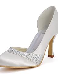 salto agulha de casamento das mulheres de cetim bombas com sapatos de strass (cores mais)