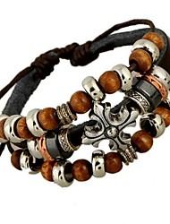 economico -Per uomo Dell'involucro del braccialetto Bracciali in pelle Originale Stile punk Con perline bigiotteria Di tendenza Pelle Lega A croce