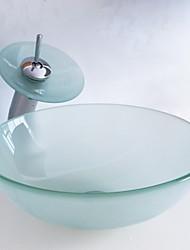 """abordables -Contemporáneo 420*130mm(16.5*5.1"""") Redondo material del disipador es Vidrio TempladoLavabo de Baño / Grifería de Baño / Anillo de Montura"""