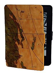 billige -den brune baggrund verdenskortet mønster pu læderetui til kindle paperwhite