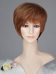 Femmes capless mode droites courtes lumière Auburn perruque synthétique avec plein Bang