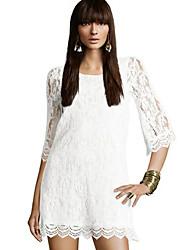 billige -YMR rund hals blonde kjole