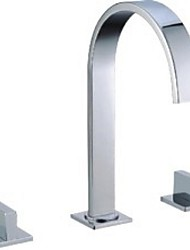 abordables -Moderne Diffusion large Soupape céramique 3 trous Deux poignées trois trous Chrome, Robinet lavabo