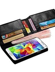 Недорогие -Для Кейс для  Samsung Galaxy Кошелек / Бумажник для карт / Флип Кейс для Чехол Кейс для Один цвет Искусственная кожа Samsung S5