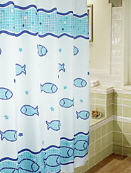 cheap -Cute Cartoon Swimming Fish Shower Curtain