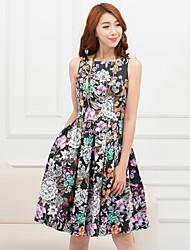 Недорогие -ПЗ печати талии платье