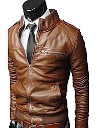 Zhelin Stand Collar Vasket Locomotive Short Leather Coat