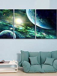 cheap -Stretched Canvas Print Canvas Set Fantasy Three Panels Vertical Print Wall Decor Home Decoration