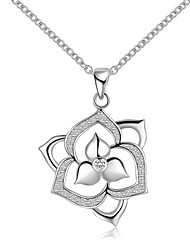 cheap -Men's Women's Floral Sterling Silver Zircon Silver Choker Necklace Pendant Necklace Pendant  -  Floral Simple Silver Necklace For Wedding