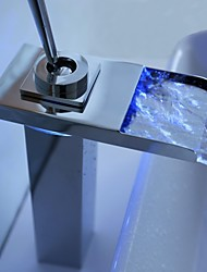 cheap -Contemporary Widespread Waterfall LED with  Ceramic Valve One Hole Single Handle One Hole for  Chrome , Bathroom Sink Faucet