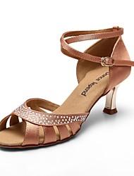 sapatos de cetim de diamante das mulheres saltos dourados dança latin sandálias (mais cores)