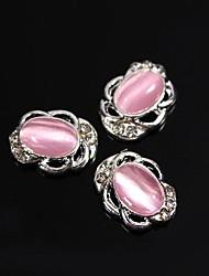 cheap -10pcs Vintage Design Oval Pink Cat Eye Stone 3D Rhinestones Alloy Nail Art Decoration
