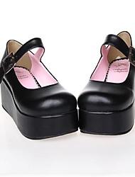 abordables -Chaussures Lolita Classique/Traditionnelle Punk Lolita Semelle compensée Chaussures Couleur Pleine 7 CM Noir Incanardin Pour FemmeCuir