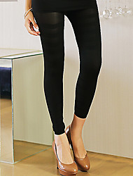 Leggings Breathability / Wearable Cotton / Spandex Smooth Ankle-Length Medium Waist Medium Black