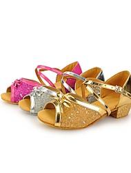 Keine Maßfertigung möglich Kinder Latin Paillette Sandalen Pailletten Verschlussschnalle Niedriger Heel Silber Gold Fuchsia 2,5 - 4,5 cm