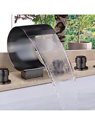 Недорогие -Смеситель для ванны - Современный Начищенная бронза Ванна и душ Керамический клапан Bath Shower Mixer Taps / Латунь / Две ручки пять отверстий