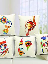 Cotton/Linen Pillow Cover , Novelty Modern/Contemporary