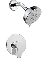 Contemporary Wall Mounted Rain Shower with  Ceramic Valve Single Handle Two Holes for  Chrome , Shower Faucet