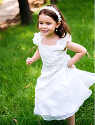 A-Line Ankle Length Flower Girl Dress - Polyester Sleeveless Scoop Neck with Lace