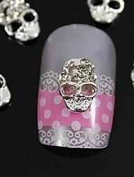 10pcs  Silver Skull 3D Rhinestone Alloy Nail Art Decoration