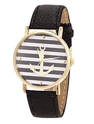 Недорогие -tomono цветочным узором цветочным узором PU ремешок женщины одеваются часы (черный)