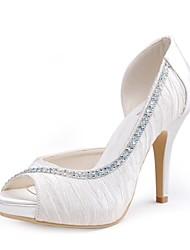 sapatos femininos espiar bombas de salto agulha de cetim toe com sapatos de casamento mais cores disponíveis