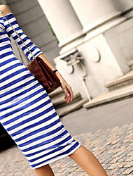 Women's Half Sleeve Strapless Stripe Bodycon Stretch Dress